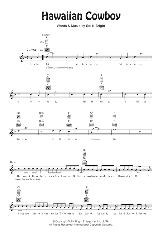 Tablature guitare Hawaiian Cowboy de Sol K. Bright's Hollywaiians - Ukulele