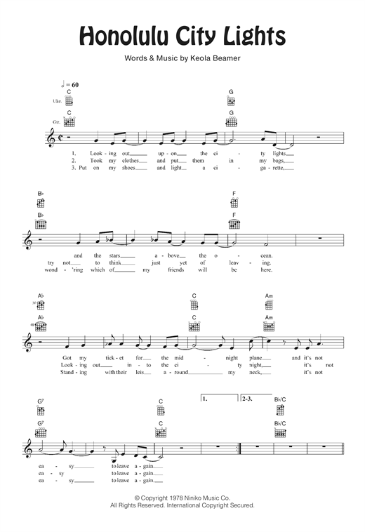 Tablature guitare Honolulu City Lights de The Beamer Brothers - Ukulele