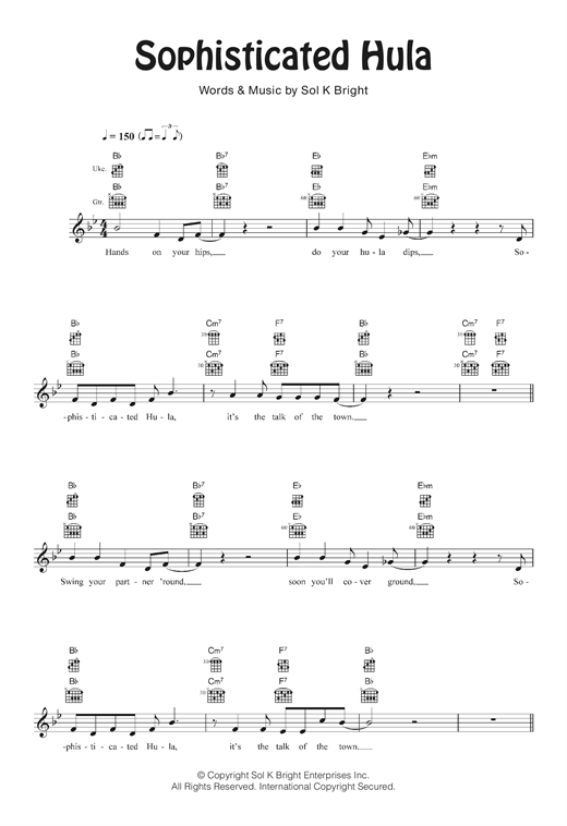 Tablature guitare Sophisticated Hula de Sol K. Bright - Ukulele