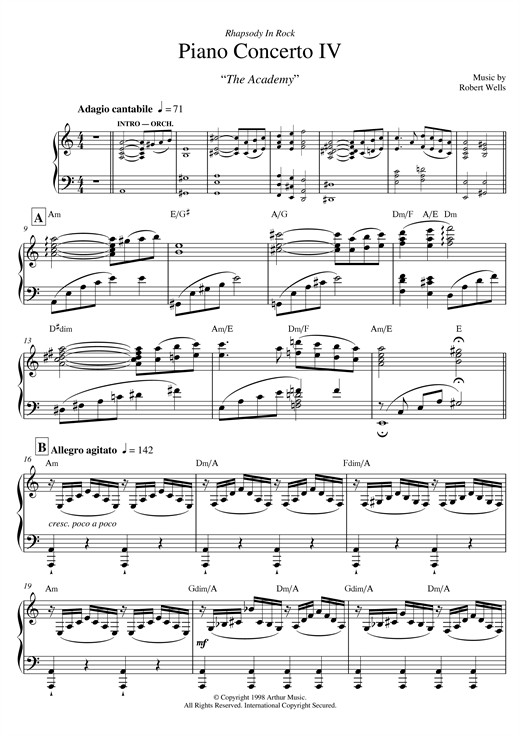 Partition piano Piano Concerto de Robert Wells - Piano Solo