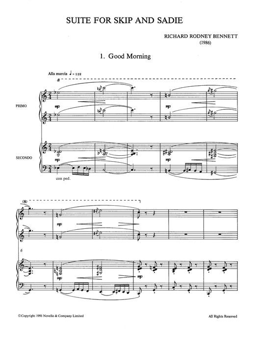 Partition piano Suite For Skip And Sadie de Richard Rodney Bennett - 4 mains