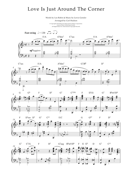 Love Is Just Around The Corner Sheet Music