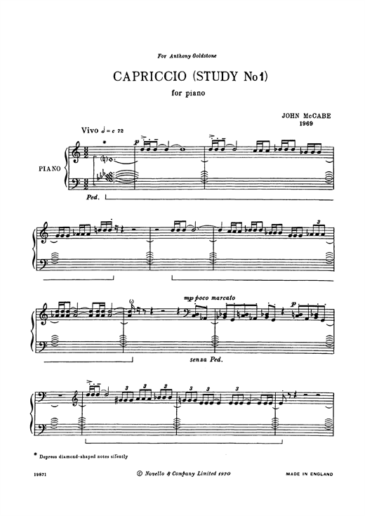 Partition piano Capriccio (Study No. 1) de John McCabe - Piano Solo