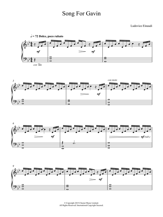 Song For Gavin Sheet Music