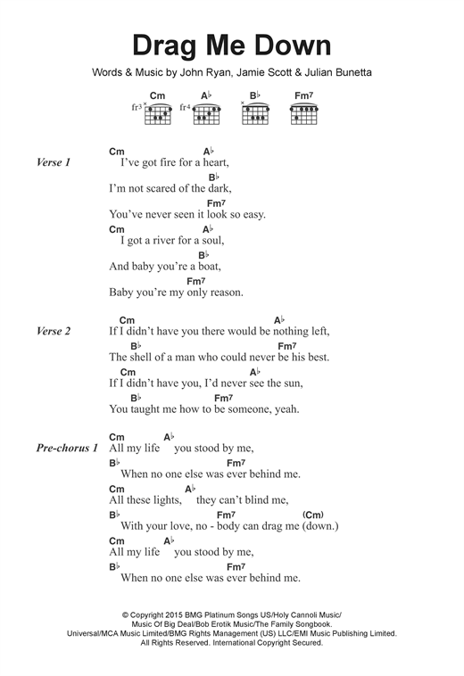 Drag Me Down sheet music by One Direction (Lyrics & Chords – 122278)