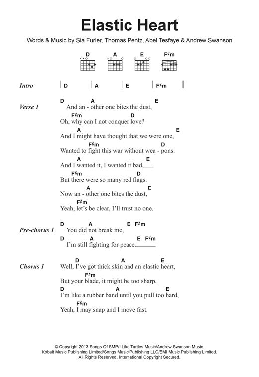 Elastic Heart sheet music by Sia (Lyrics & Chords – 122279)