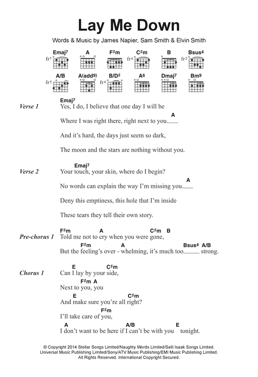 Lay Me Down Sheet Music By Sam Smith Lyrics Chords 122284