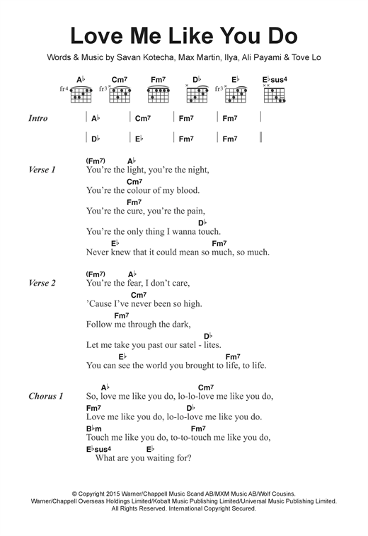 Love Me Like You Do Sheet Music By Ellie Goulding Lyrics Chords