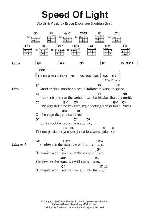 Speed Of Light Sheet Music