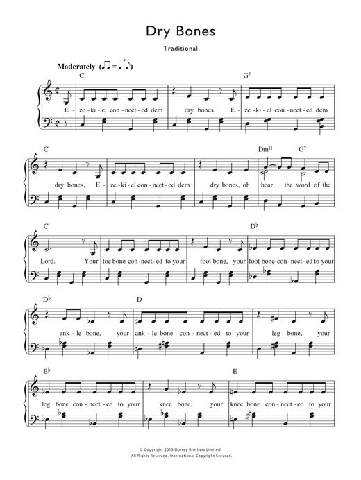 Partition piano Dry Bones de Traditional Nursery Rhyme - Piano Voix