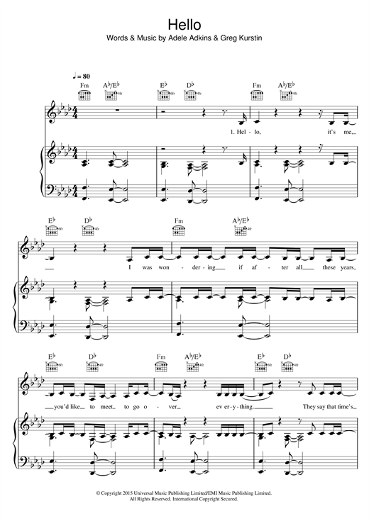 Hello sheet music by Adele (Piano, Vocal u0026 Guitar (Right-Hand Melody) u2013 122316)