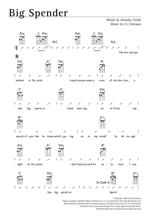 Tablature guitare Big Spender (from Sweet Charity) de Shirley Bassey - Ukulele (strumming patterns)