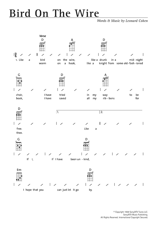 Tablature guitare Bird On The Wire (Bird On A Wire) de Leonard Cohen - Ukulele (strumming patterns)