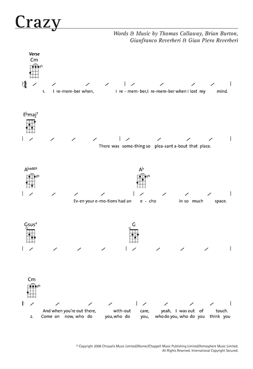 Crazy Sheet Music By Gnarls Barkley Ukulele With Strumming Patterns