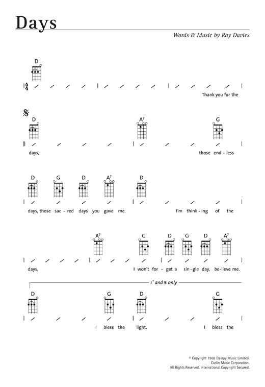Tablature guitare Days de The Kinks - Ukulele (strumming patterns)