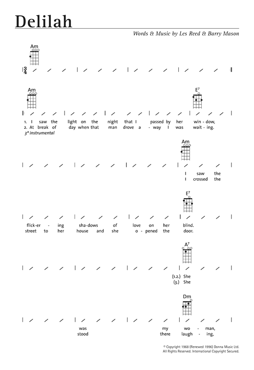 Tablature guitare Delilah de Tom Jones - Ukulele (strumming patterns)