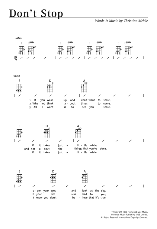 Tablature guitare Don't Stop de Fleetwood Mac - Ukulele (strumming patterns)