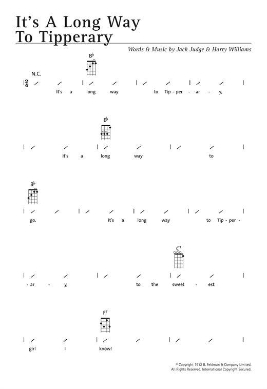 Tablature guitare It's A Long Way To Tipperary de Traditional - Ukulele (strumming patterns)