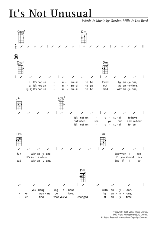 Tablature guitare It's Not Unusual de Tom Jones - Ukulele (strumming patterns)
