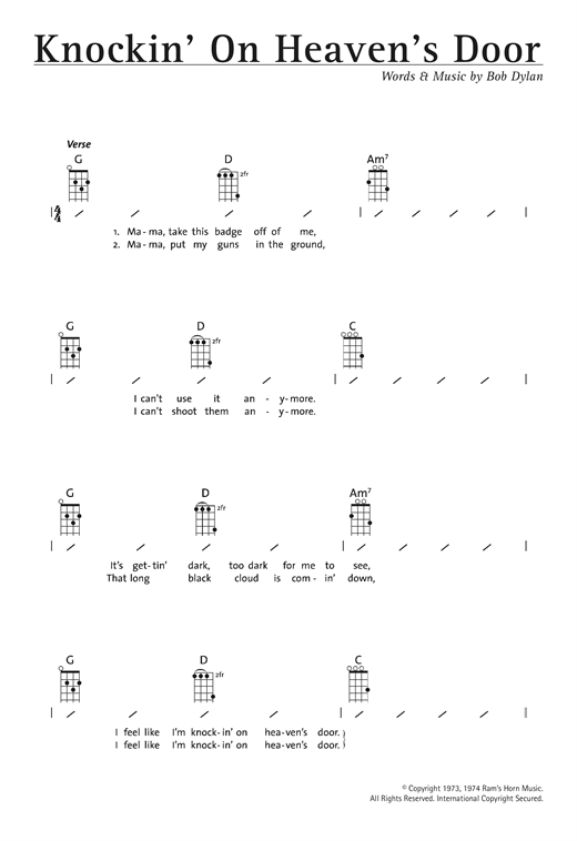 Tablature guitare Knockin' On Heaven's Door de Bob Dylan - Ukulele (strumming patterns)