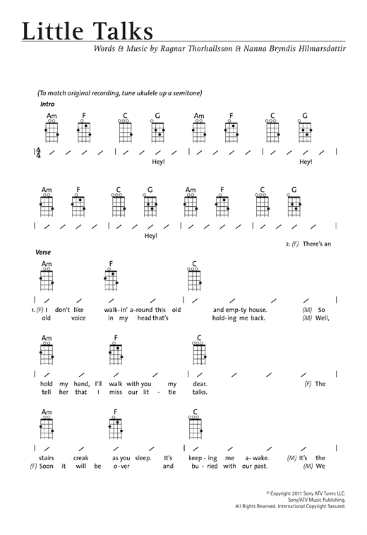 Little Talks sheet music by Of Monsters And Men (Ukulele with strumming patterns u2013 122342)