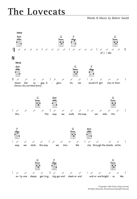 Tablature guitare The Lovecats de The Cure - Ukulele (strumming patterns)