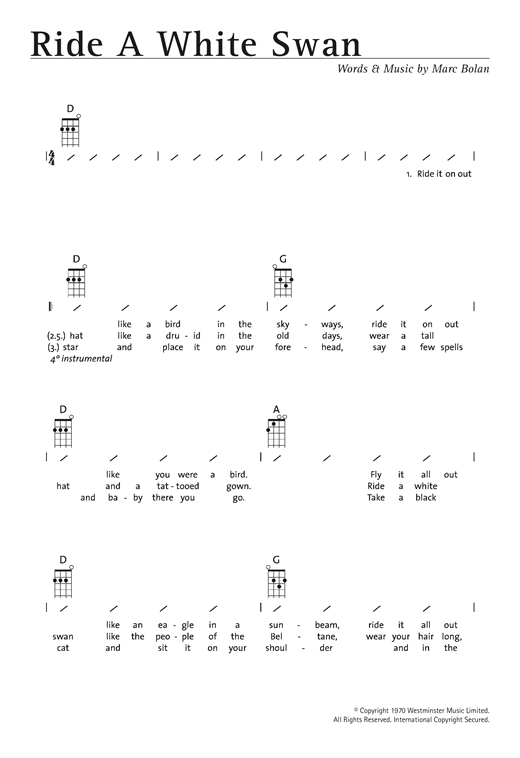 Tablature guitare Ride A White Swan de T. Rex - Ukulele (strumming patterns)