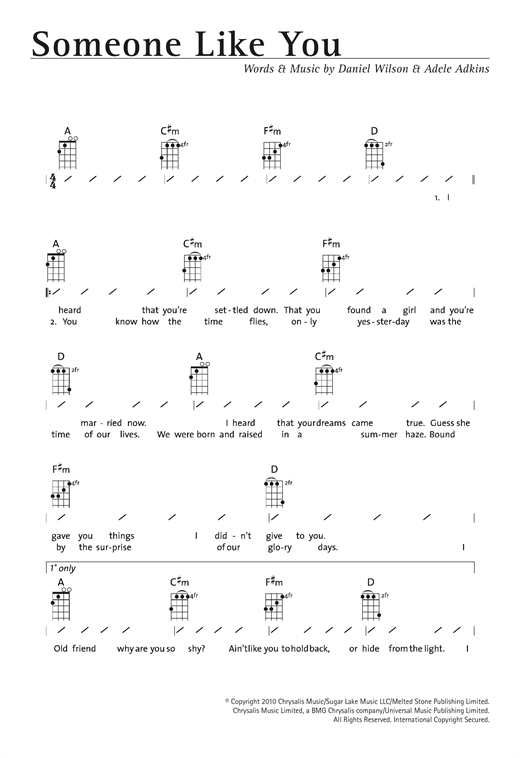 Tablature guitare Someone Like You de Adele - Ukulele (strumming patterns)