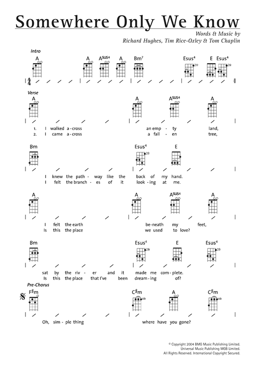 Somewhere Only We Know sheet music by Keane (Ukulele with strumming ...