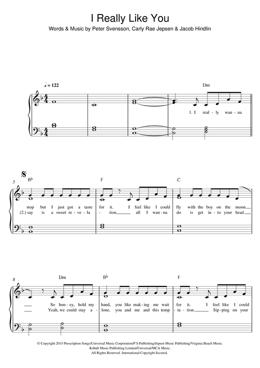 Partition piano I Really Like You de Carly Rae Jepsen - Piano Facile
