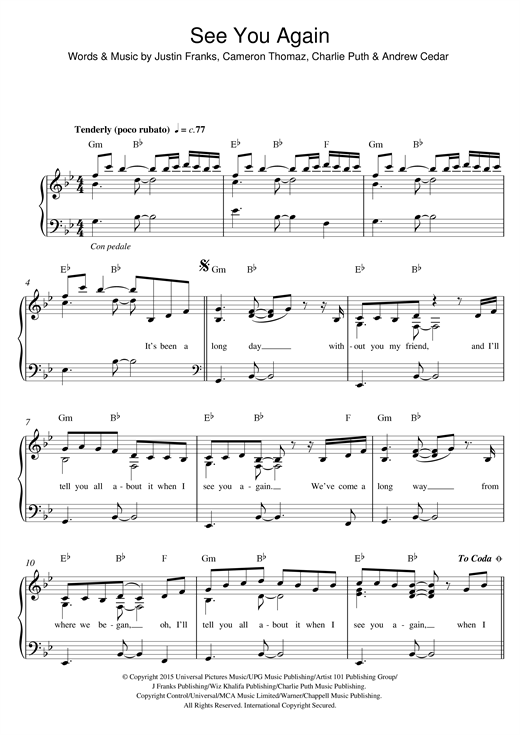 Piano piano chords see you again : Ukulele : ukulele chords see you again Ukulele Chords See or ...