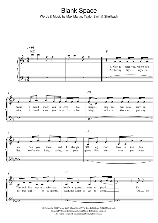 Blank Space Sheet Music