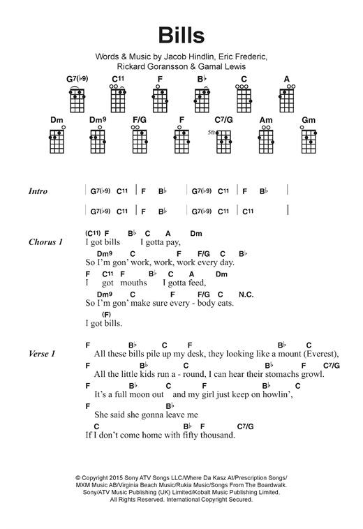 Bills Sheet Music By Lunchmoney Lewis Ukulele Lyrics Chords 122382