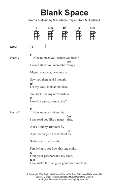 Blank Space sheet music by Taylor Swift (Ukulele Lyrics u0026 Chords u2013 122384)