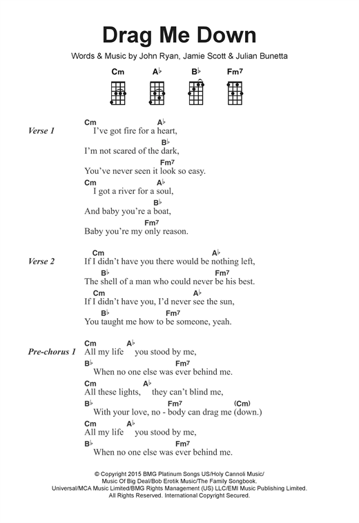 Drag Me Down Sheet Music By One Direction Ukulele Lyrics Chords