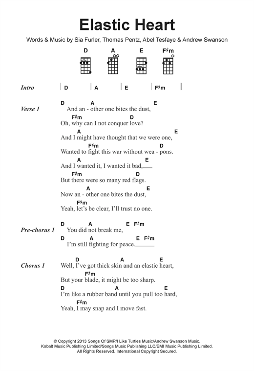 Elastic Heart sheet music by Sia (Ukulele Lyrics & Chords – 122392)