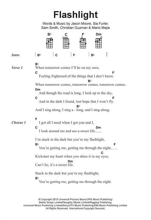 Flashlight Sheet Music By Jessie J Ukulele Lyrics Chords 122393