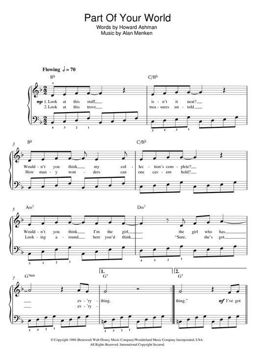 Part Of Your World (from The Little Mermaid) Sheet Music