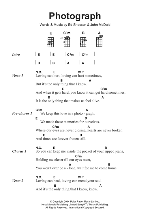 Photograph sheet music by Ed Sheeran (Ukulele Lyrics & Chords ...