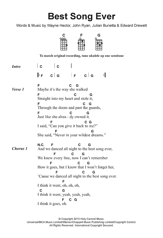 Ukulele ukulele chords songs easy : Best Song Ever sheet music by One Direction (Ukulele Lyrics ...
