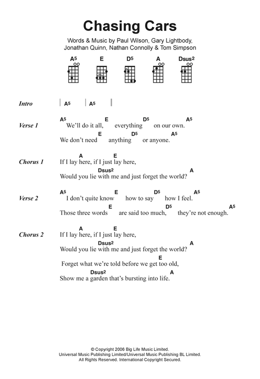Chasing Cars sheet music by Snow Patrol (Ukulele Lyrics & Chords ...