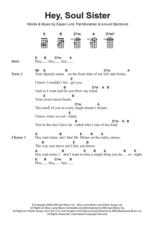 Hey Soul Sister Sheet Music By Train Ukulele Lyrics Chords 122448