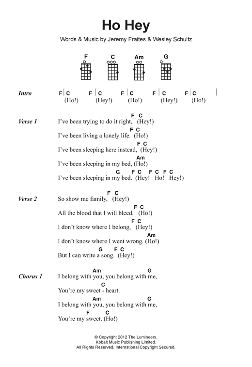 Ho Hey Sheet Music By The Lumineers Ukulele Lyrics Chords 122449