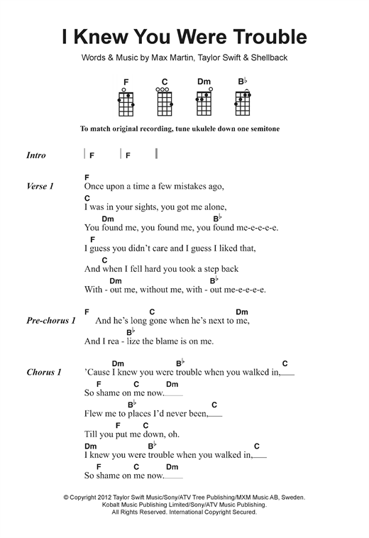 Ukulele ukulele tabs taylor swift : I Knew You Were Trouble sheet music by Taylor Swift (Ukulele ...