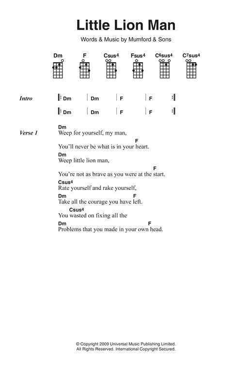 Banjo banjo chords mumford and sons : Little Lion Man sheet music by Mumford & Sons (Ukulele Lyrics ...