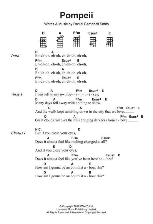 Pompeii Sheet Music