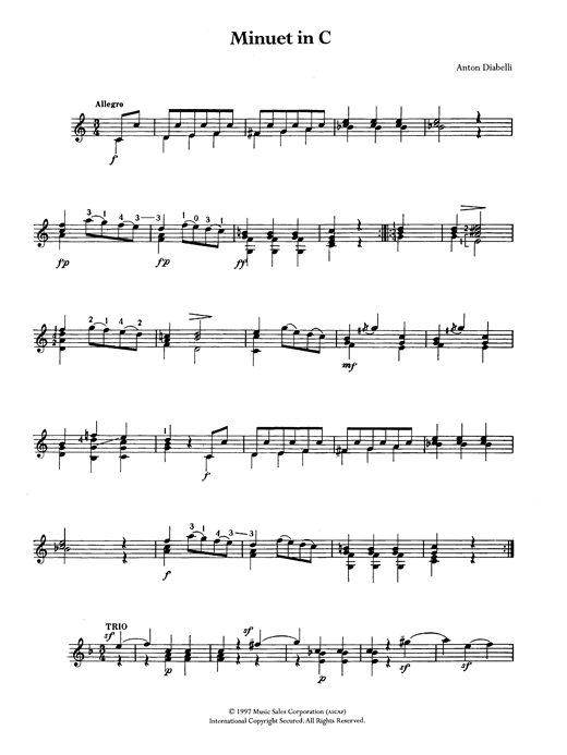 Tablature guitare Minuet In C de Anton Diabelli - Guitare Classique