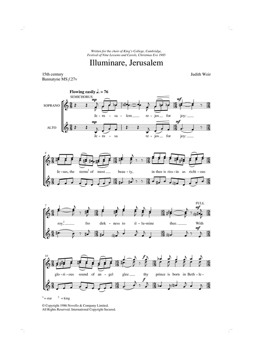 Illuminare Jerusalem Sheet Music