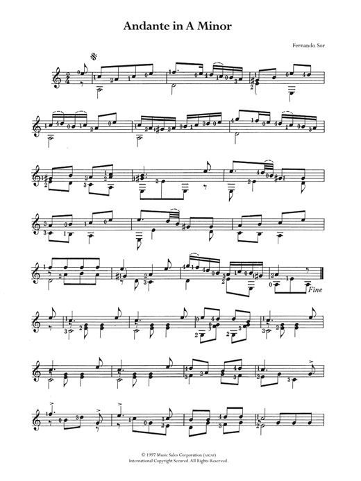 Andante In A Minor Sheet Music