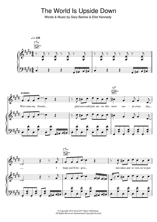 The World Is Upside Down (from 'Finding Neverland') Sheet Music
